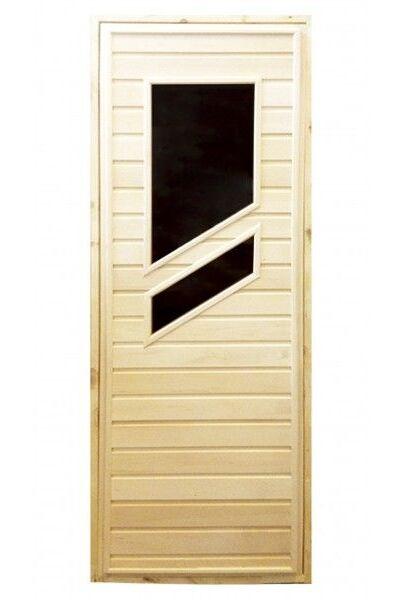 Дверь для бани и сауны с двумя стеклами - вариант 1