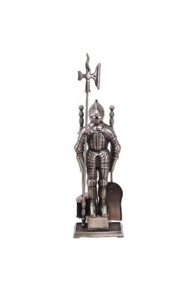 Набор для камина Рыцарь 4 предмета Серебро (LK D50011AS)