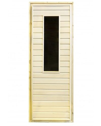 Дверь для бани и сауны с прямоугольным стеклом