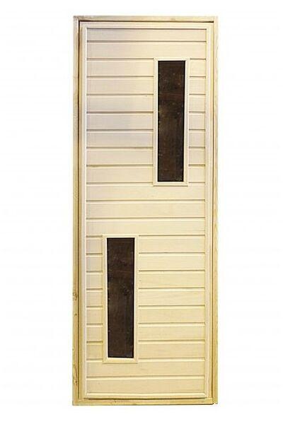Дверь для бани и сауны с двумя стеклами - вариант 2