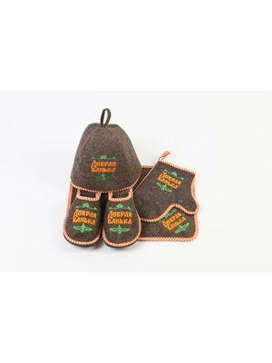 Набор для бани войлок с вышивкой Добрая банька - 212F