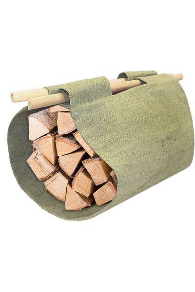 Сумка для переноски дров с деревянными ручками