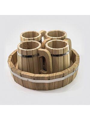 Набор кружек (поддон + 4 кружки) ДУБ