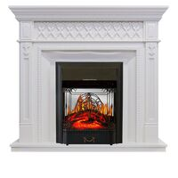 Каминокомплект Alexandria - Белый дуб с очагом Majestic FX Black - Royal Flame