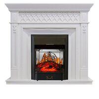 Каминокомплект Alexandria - Белый дуб с очагом Majestic FX M Black - Royal Flame