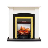 Каминокомплект Baltimore - Слоновая кость, черный с очагом Fobos FX M Brass - Royal Flame