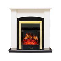 Каминокомплект Baltimore - Слоновая кость, черный с очагом Majestic FX Brass - Royal Flame