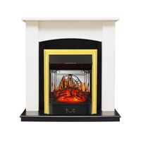 Каминокомплект Baltimore - Слоновая кость, черный с очагом Majestic FX M Brass - Royal Flame