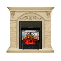 Каминокомплект Bern Сланец крупный бежевый / Алебастр темная патина с очагом Majestic FX M Black - Royal Flame