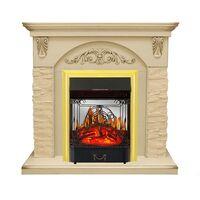 Каминокомплект Bern Сланец крупный бежевый / Алебастр темная патина с очагом Majestic FX M Brass - Royal Flame