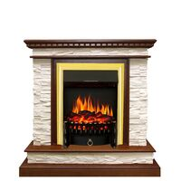 Каминокомплект Calgary - Дуб / Сланец белый с очагом Fobos FX Brass - Royal Flame