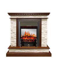 Каминокомплект Calgary - Дуб / Сланец белый с очагом Fobos FX M Black - Royal Flame