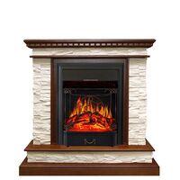 Каминокомплект Calgary - Дуб / Сланец белый с очагом Majestic FX Black - Royal Flame