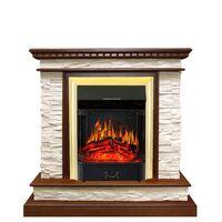 Каминокомплект Calgary - Дуб / Сланец белый с очагом Majestic FX Brass - Royal Flame