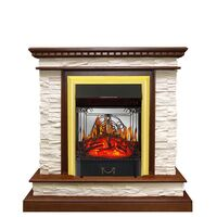 Каминокомплект Calgary - Дуб / Сланец белый с очагом Majestic FX M Brass - Royal Flame