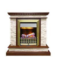 Каминокомплект Calgary - Дуб / Сланец белый с очагом Danville Antique Brass FB2 - Dimplex