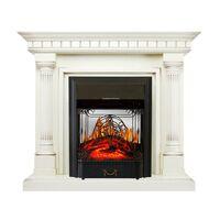 Каминокомплект Dallas - Слоновая кость с патиной с очагом Majestic FX M Black - Royal Flame