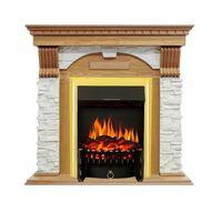 Каминокомплект Dublin - Дуб / Сланец белый с очагом Fobos FX Brass - Royal Flame