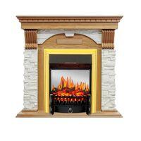 Каминокомплект Dublin - Дуб / Сланец белый с очагом Fobos FX M Brass - Royal Flame