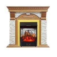 Каминокомплект Dublin - Дуб / Сланец белый с очагом Majestic FX M Brass - Royal Flame