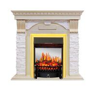 Каминокомплект Dublin - Слоновая кость с патиной / Сланец крем с очагом Fobos FX M Brass - Royal Flame
