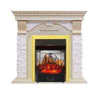Каминокомплект Dublin - Слоновая кость с патиной / Сланец крем с очагом Majestic FX M Brass - Royal Flame