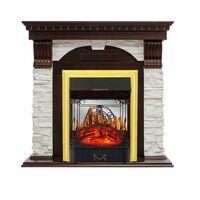 Каминокомплект Dublin - Темный дуб / Сланец белый с очагом Majestic FX M Brass - Royal Flame