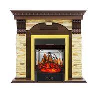 Каминокомплект Dublin - Темный дуб / Сланец с очагом Majestic FX M Brass - Royal Flame