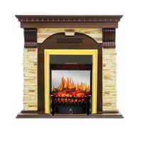 Каминокомплект Dublin угловой - Темный дуб / Сланец с очагом Fobos FX M Brass - Royal Flame