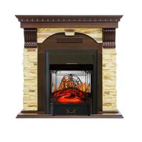 Каминокомплект Dublin угловой - Темный дуб / Сланец с очагом Majestic FX M Black - Royal Flame