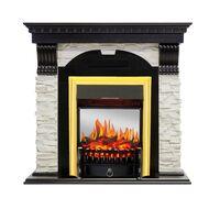 Каминокомплект Dublin - Венге / Сланец белый с очагом Fobos FX M Brass - Royal Flame