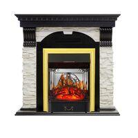 Каминокомплект Dublin - Венге / Сланец белый с очагом Majestic FX M Brass - Royal Flame