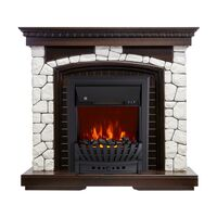 Каминокомплект Glasgow - Темный дуб / Белый с очагом Aspen Black - Royal Flame