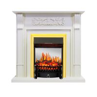Каминокомплект Venice - Фактурный белый с очагом Fobos FX M Brass - Royal Flame
