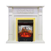 Каминокомплект Venice - Фактурный белый с очагом Majestic FX M Brass - Royal Flame