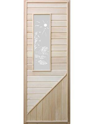 Дверь для бани с прямоугольной стеклянной вставкой с сюжетом 1850х750 - DoorWood