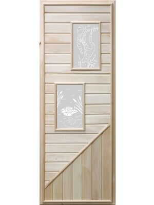 Дверь для бани с двумя прямоугольными вставками с сюжетом 1850х750 - DoorWood
