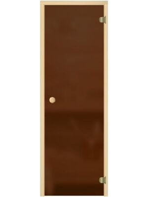 """Дверь для бани """"Бронза матовая"""", коробка хвоя, 2 петли, круглая ручка-защелка, 6мм - DoorWood"""