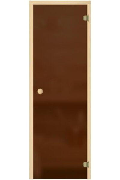 """Дверь для бани и сауны """"Бронза матовая"""" 1900*700, 6мм, 2 петли, круглая ручка с защелкой"""