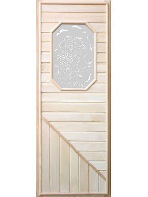 Дверь для бани с восьмиугольной стеклянной вставкой 1850х750 - DoorWood