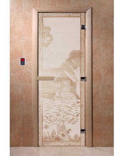 """Дверь для бани """"Банька в лесу сатин"""" - DoorWood"""