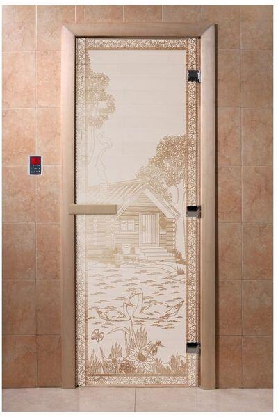 """Дверь для бани и сауны """"Банька в лесу сатин"""""""