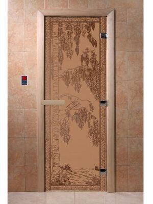 """Дверь для бани """"Березка бронза матовая"""" - DoorWood"""