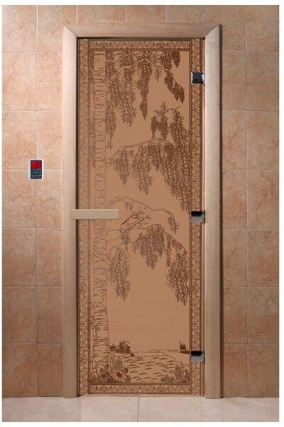 """Дверь для бани и сауны """"Березка бронза матовая"""""""