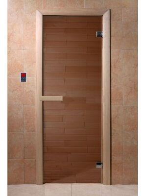"""Дверь для бани """"Бронза"""", 1900*700, стекло 6мм, 2 петли — DoorWood"""