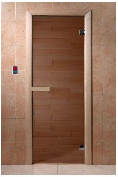 """Дверь для бани и сауны """"бронза"""" 1900*700, 6мм, 2 петли"""
