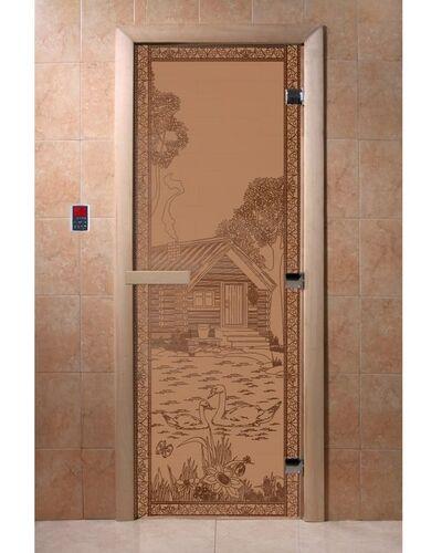 """Дверь для бани """"Банька в лесу бронза матовая"""" - DoorWood"""