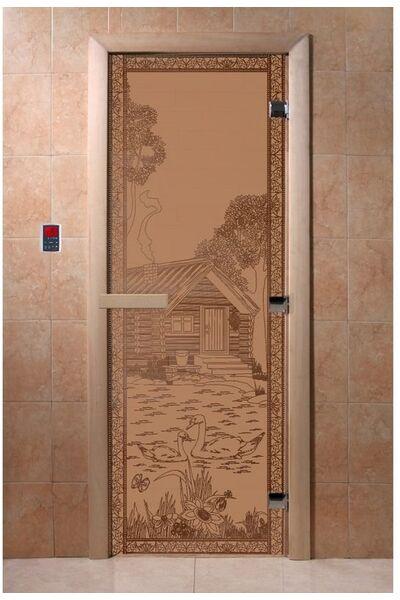 """Дверь для бани и сауны """"Банька в лесу бронза матовая"""""""