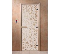 """Дверь для бани """"Цветы и бабочки сатин"""" - DoorWood"""