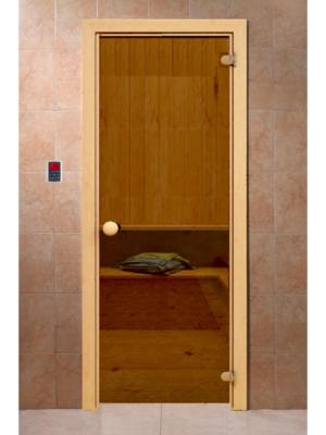 """Дверь для бани """"Бронза"""" с рисунком, коробка хвоя, 2 петли, круглая ручка-защелка, 6мм - DoorWood"""